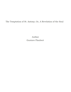 The Temptation of St. Antony; Or, A Revelation of the Soul [Elektronisk resurs]